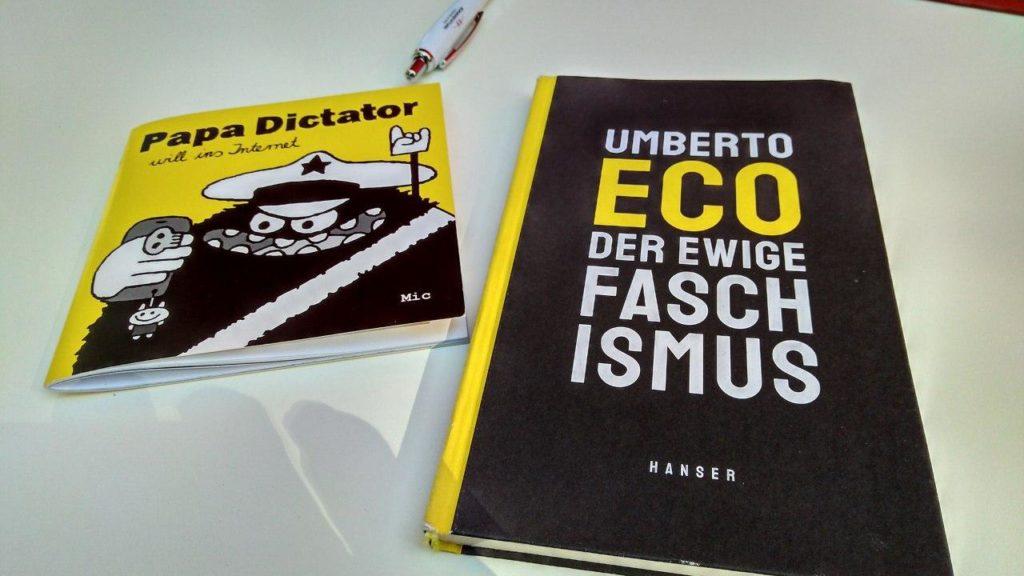 """Bidl der Bücher """"Papa Diktator will ins Internet"""" und der """"Ewige Faschismus"""""""