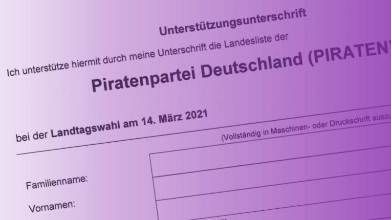 Das Formular für Unterstützungsunterschriften zur LTW 2021
