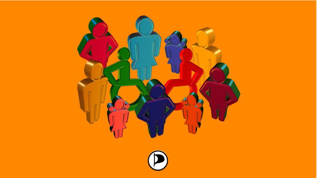 Darstellung von Menschen als Piktogramme in deren Mitte sich Menschen im Rollstuhl befinden.